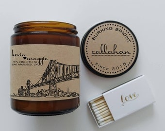 Wedding Gift Personalized Candle San Francisco Skyline ANY CITY AVAILABLE Newlywed Gift Newly Engaged Gift Ideas for Couples Holiday Gift