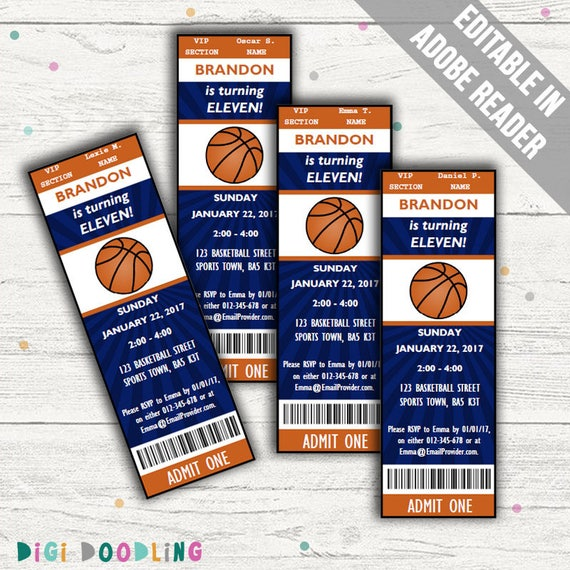 basketball party invitations editable pdf printable instant download - Basketball Party Invitations