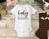Pregnancy Announcement Onesie Brand Bodysuit - Boho Arrow Last Name Pregnancy Reveal Boho Baby Shower Gift Boho Hipster Baby Clothes Onsie