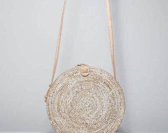 Round white wash basket bag, white wash round Ata bag, round basket bag