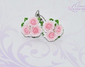 Blush earrings Blush Pink Earrings Pink girlfriend gift Blush Pink Earrings Blush bridesmaid Pink Roses Earrings Pale Pink earrings Flower