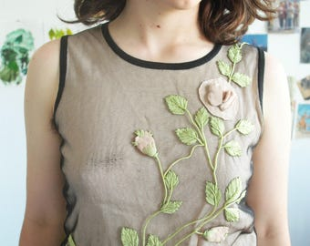 90's Beige and Black Mesh Tank-Top With Flowers by Odille, Sewn On Fabric Flower