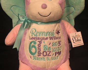 birth announcement stuffed animal, baby announcement plush animal, personalized stuffed animal baby gift, monogrammed Little Elska butterfly