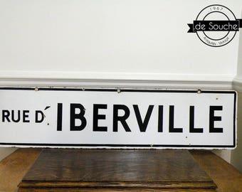 Antique Porcelain Enamel Street Sign Vintage Road Sign French Rue D'Iberville Montreal Quebec Canada