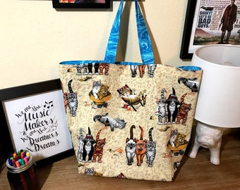 Kitties on the Beach Reversible Tote/Shopping Bag