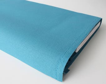 """Turquoise Permin Aida Fabric 14ct Embroidery Fabric Sold per 4""""/ 10 cm Wichelt Turquoise Fabric 100% Cotton Fabric Turquoise Stitch Fabric"""