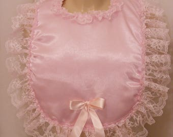sissy adult baby satin padded  bib  customies your own colour lace ribbon backing fancydress cosplay