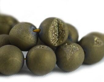 Druzy Agate Geode Quartz Stone Matte Golden Bronze Brown Earthy Bead Round 14mm
