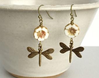 Dragonfly Flower Earrings, Czech Glass Flower Earrings, Dragonfly Jewelry, Summer Jewelry, Gift for Dragonfly Lover