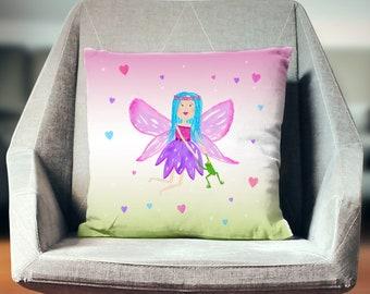 Fairy Cushion, Fairy Nursery Decor, Little Girl Pillow, Fairy Decorative Pillow, Fairy Tale Pillow, Character Cushion, Watercolor Girl Decor