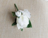 Ivory silk wedding button...