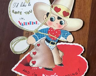 Vintage Cowboy Valentine Card Roping Chaps Hat Rope You In