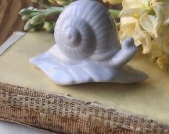 Vintage White Snail Figurine in Leaf Made in Japan