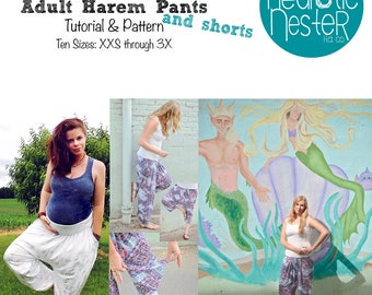 A4 printer size Not a Mermaid Adult Harem Pants Sewing Pattern & Tutorial