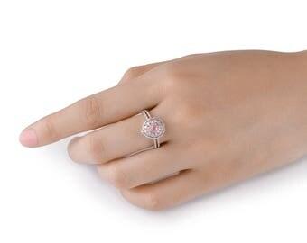 20% SALE Pink Diamond Ring, Diamond Engagement Ring, 18K white and rose gold, Pink Diamond Engagement Ring, Diamond Halo Ring, Fancy pink