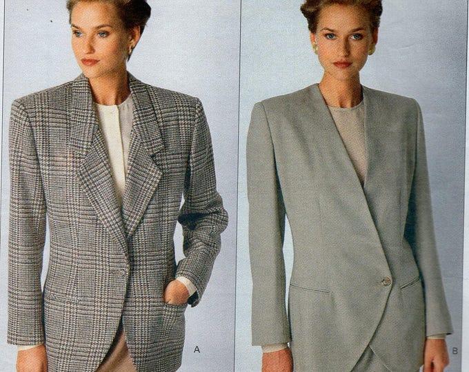 FREE US SHIP Vogue 2393 Vintage Retro 1980s 80s Designer Calvin Klein Jacket Collar Variations Size 6 8 10 Bust 30 31 32  (Last size left)
