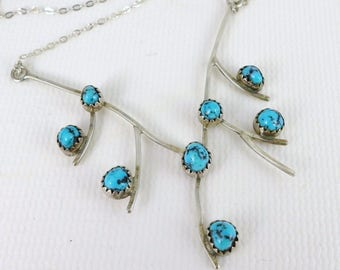 Sterling Silver Turquoise Necklace, Vintage Sterling Silver And Turquoise Pendant Necklace, Unique Necklace