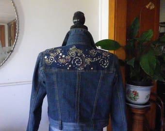 Cropped denim jacket with embellished back panel