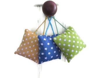 Lavender sachets (set of 3 bags), blue, green, yellow door decoration, polka dots, stars, hearts