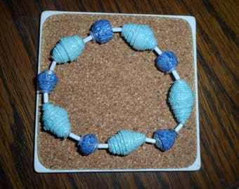 Wallpaper Beads Bracelet turquoise blue and Navy Blue