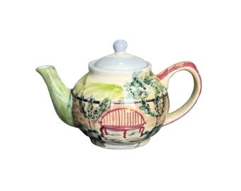 Zrike Michal Sparks 6 Cup Teapot Garden Bench Estate of Mind Hand Painted