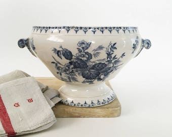 Soup Tureen, Sarreguemines, Transferware Bowl, Soup Bowl, Flore, Blue Ironstone, Soupière ancienne, Antique French Tureen, French Country