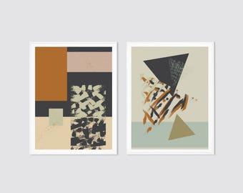 Print set, set of 2, modern wall art prints, mid century art, mid century art print, mid century poster, textured prints, geometric prints