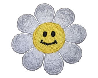Daisy Flower Smiley Face Applique Patch (Iron on)