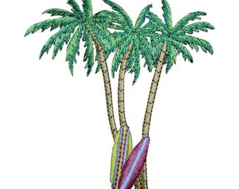 Palm Trees and Surf Boards Applique Patch (Iron on)