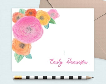 Personalized stationery set/Floral Initial Notecard/Monogram Note Card/Personalized stationery, personalized gift