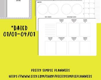 Pocket Wo2P 2018 Q1 Vertical Traveler's Notebook Printable Inserts |  Wo2P TN Inserts  | Pocket Planner  |  Pocket TN  |  Wo2P Insert