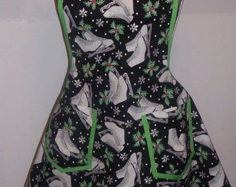 Medium Retro Style Womens Apron, Ice Skates and Holly