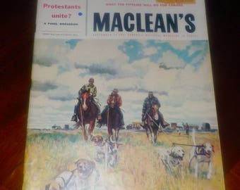 Mid-century (September 14, 1957) Macleans magazine What the Pipeline Will Do for Canada. Whitehead the Hitmaker. Vintage ads. Complete