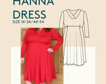 Plus size dress sewing patterns|Dress PDF pattern|Plus size jersey dress PDF sewing pattern for curvy women|Womens plus size sewing patterns