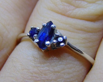 dark blue sapphire Ring sterling silver marquise cut double sapphire accented natural heated fast and free shipping september birthstone