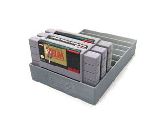 Gray SNES Game Tray, Dust Protector, Cartridge Sleeve, 3D Print, Zelda, Legend of Zelda, SNE, Super Mario, Super Nintendo
