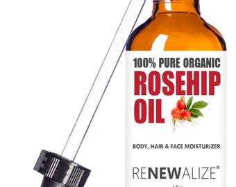 Organic Rosehip Seed Oil in Large 4 OZ. Dark Glass Bottle | Unrefined, Cold Pressed Oil | All Natural Moisturizer for Hair, Skin and Nails