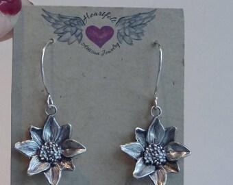 Dangle Flower Earrings, Silver Flower Earrings, Sunflower Earrings,Drop Earrings, Gardener Gift, Drop and Dangle, Botanical Gift for her,