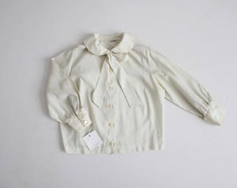 60s peter pan collar blouse | cream blouse | secretary blouse