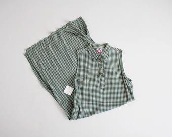 green plaid dress | collared maxi dress | xl plaid dress