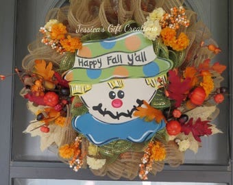 Ready to Ship Fall Wreath/Front Door Wreath/Deco Mesh Wreath/Burlap Decor/Scarecrow Decor/Holiday/Autumn/Thanksgiving/Housewarming Gift