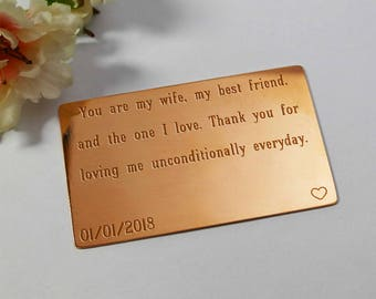 Copper Anniversary Gift, Copper Wallet Insert Card, Copper gift for her, 7 Year Anniversary, wife copper gift, custom engraved copper gift