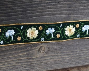 Velvet Embroidered Floral Trim