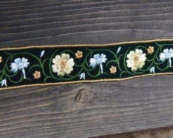 Velvet Embroidered Floral Trim