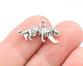 12 Pcs Tiger Charms Antique Silver Tone 2 Sided 11x22mm - YD1605