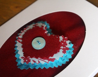 Maroon and Turquoise Blue | Floral | Button Embellished | Hand sewn | Oval | Greeting Card