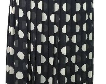 Vintage Skirt UK Size 10 Black White Polka Dot 1990s Womens Pleated Skirt Basler Designer Evening Wedding Party Office