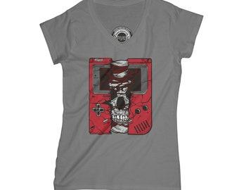 Hipster t-shirt skull t-shirt bones t-shirt gamer t-shirt player t-shirt  old school t-shirt v neck t-shirt for women  APV60