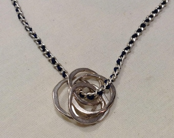 925 Edwardian Infinity Circles Pendant, Boho Fine Sterling Long 3mm Chain Flapper Necklace 5624-15