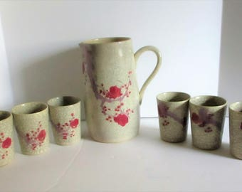Vintage Japanese Crackle Glaze Pottery Pitcher & Six Tumblers Water Glasses Tea Lemonade Set Crackleware Stoneware Japan Hand Painted